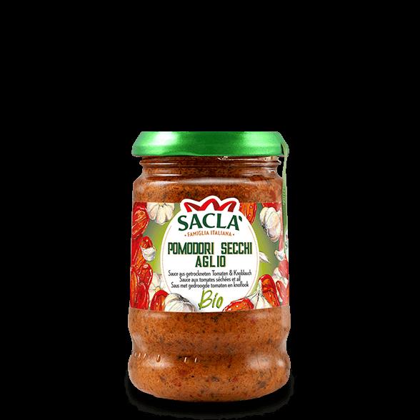 Biologische pastasaus met gedroogde tomaten en knoflook