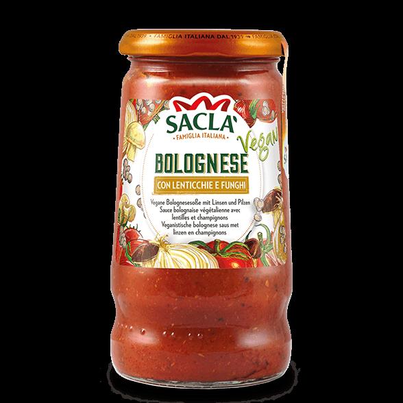 Veganistische pastasaus van tomaat, linzen en champignons